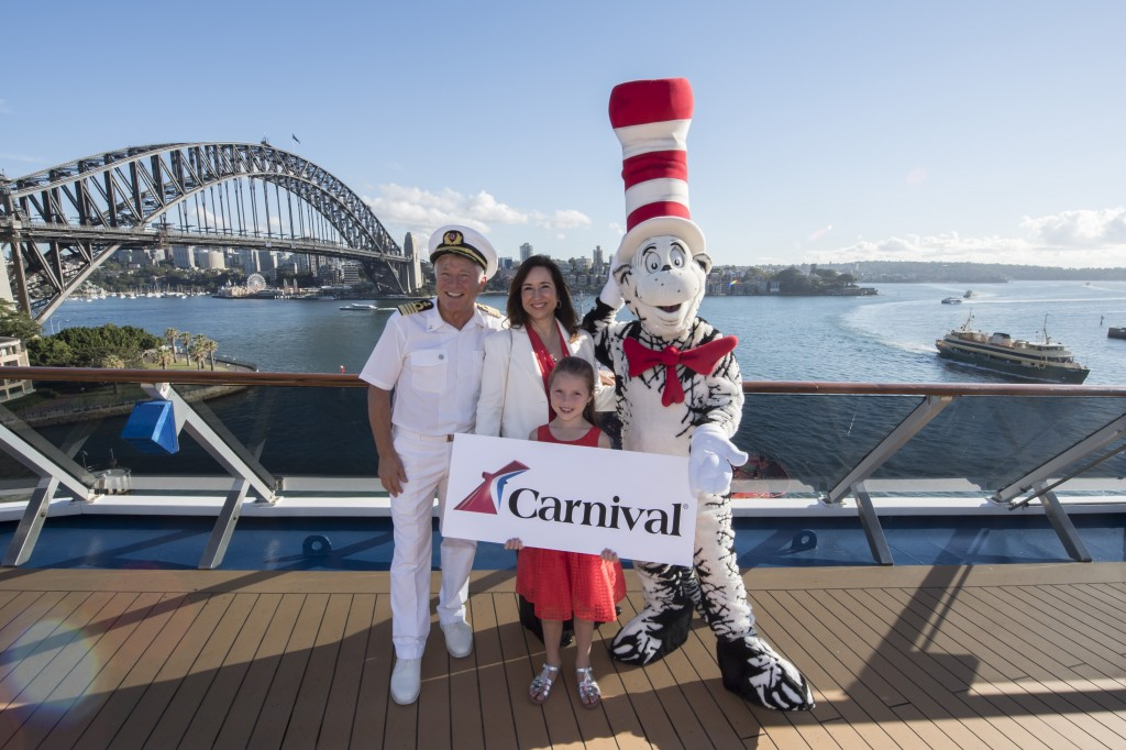 Captain Adriano Binacchi, Carnival Cruise Line President Christine Duffy, Matilda Jenkins (Westmead) and Cat in the Hat