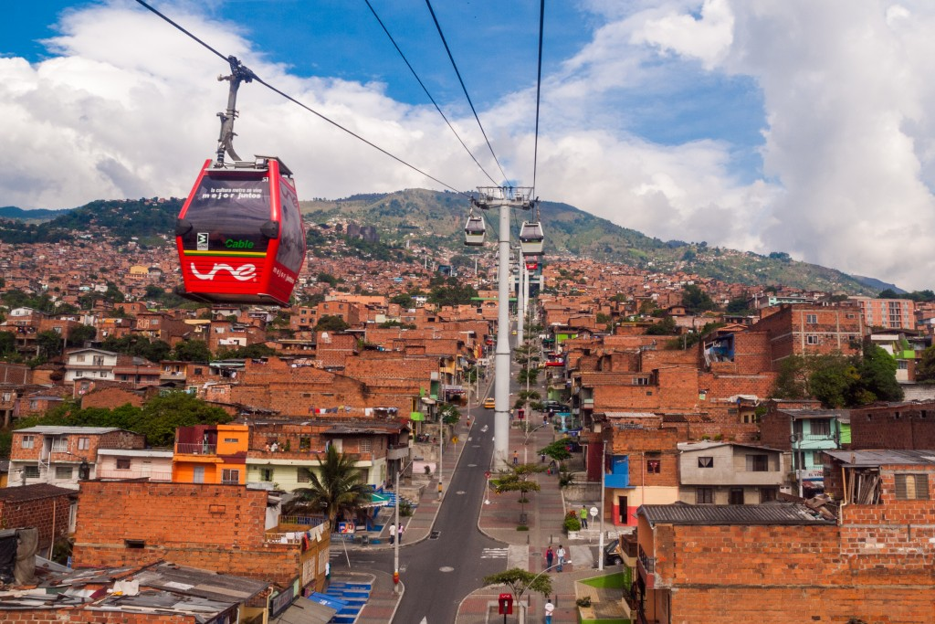 Metrocable cars in Medellin, Colombia