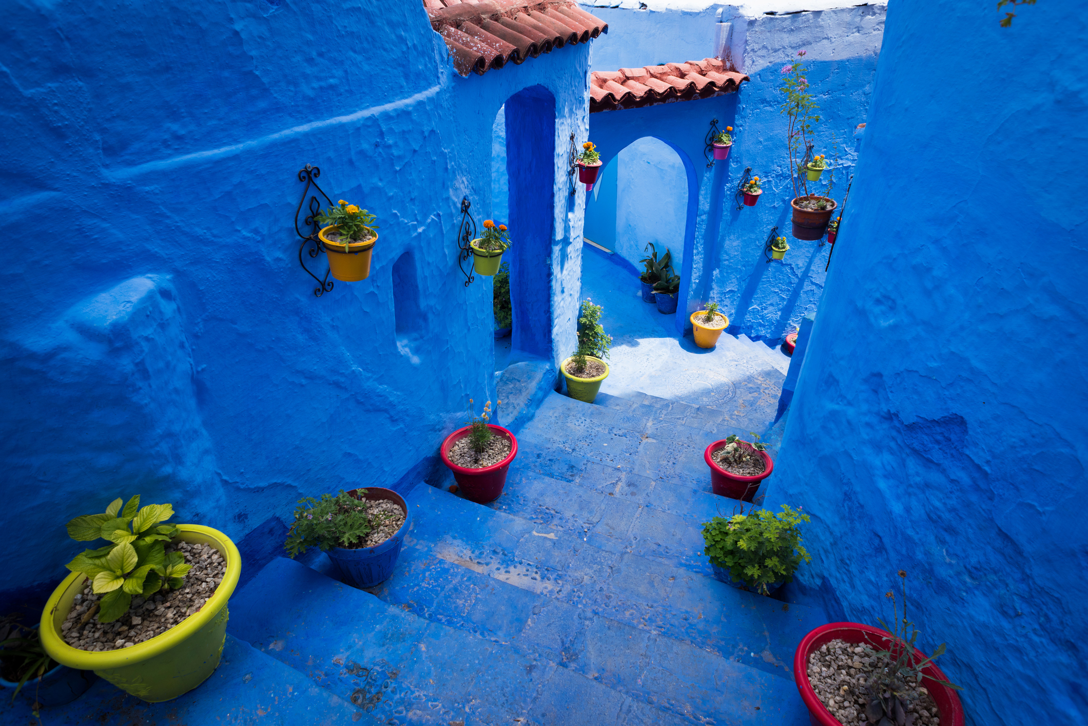 Colorful alleyway in the city of Chefchaouen, Morocco