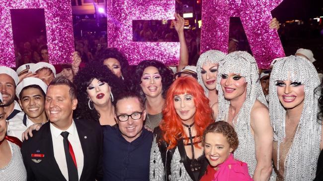 Qantas CEO Alan Joyce alongside Cher at this year's Mardi Gras
