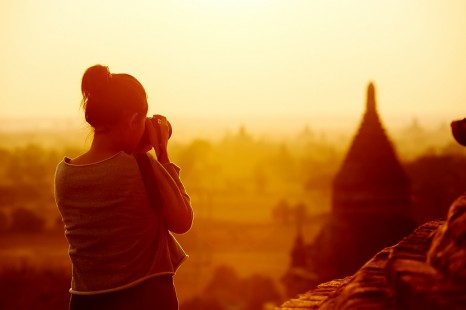 Photographing temples at Bagan at sunrise