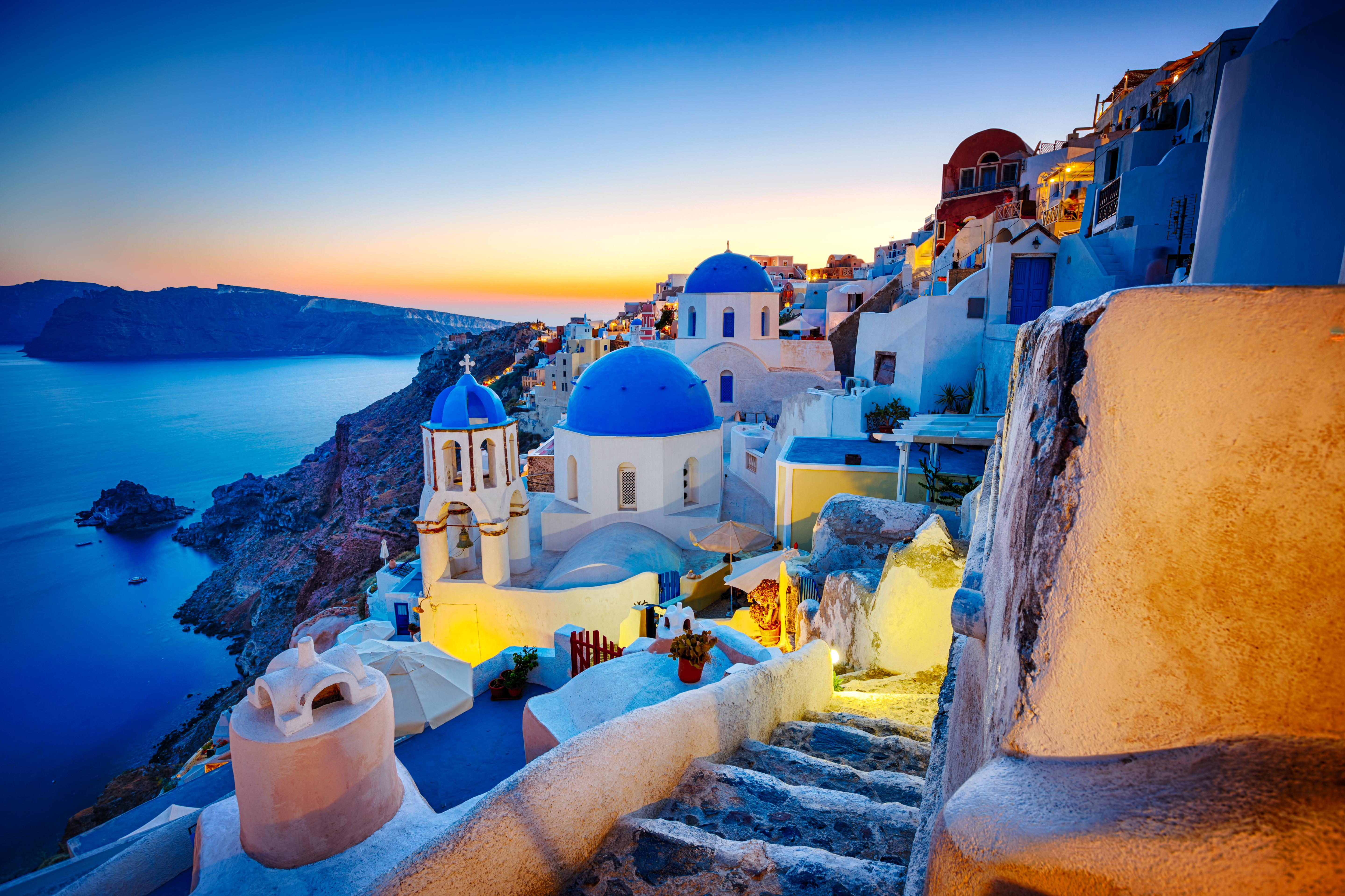 Romantic travel destination Oia village, Santorini island, Greece