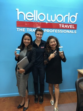 A much needed coffee at helloworld Sth Melbourne