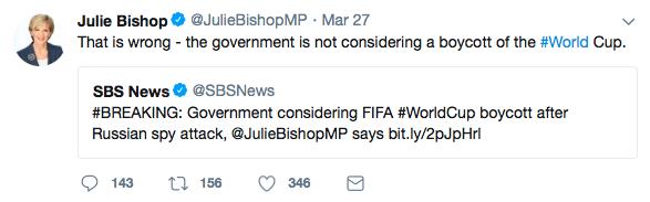 Julie Bishop tweet