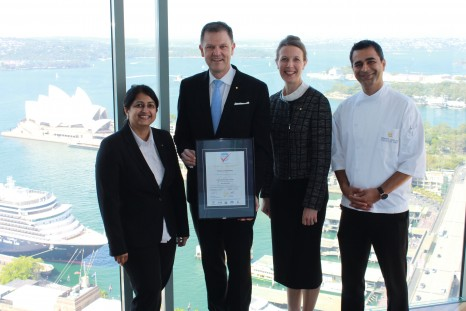Shangri-La Hotel, Sydney ISO 22000 Award. Left to right, F+B Hygienist Gauri Apte, General Manager, Craig Hooley, Resident Manager Gudrun Smith & Executive Chef Hemant Dadlani