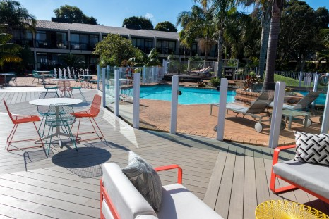Sub-tropical gardens and the new swimming pool deck at Holiday Inn Auckland Airport