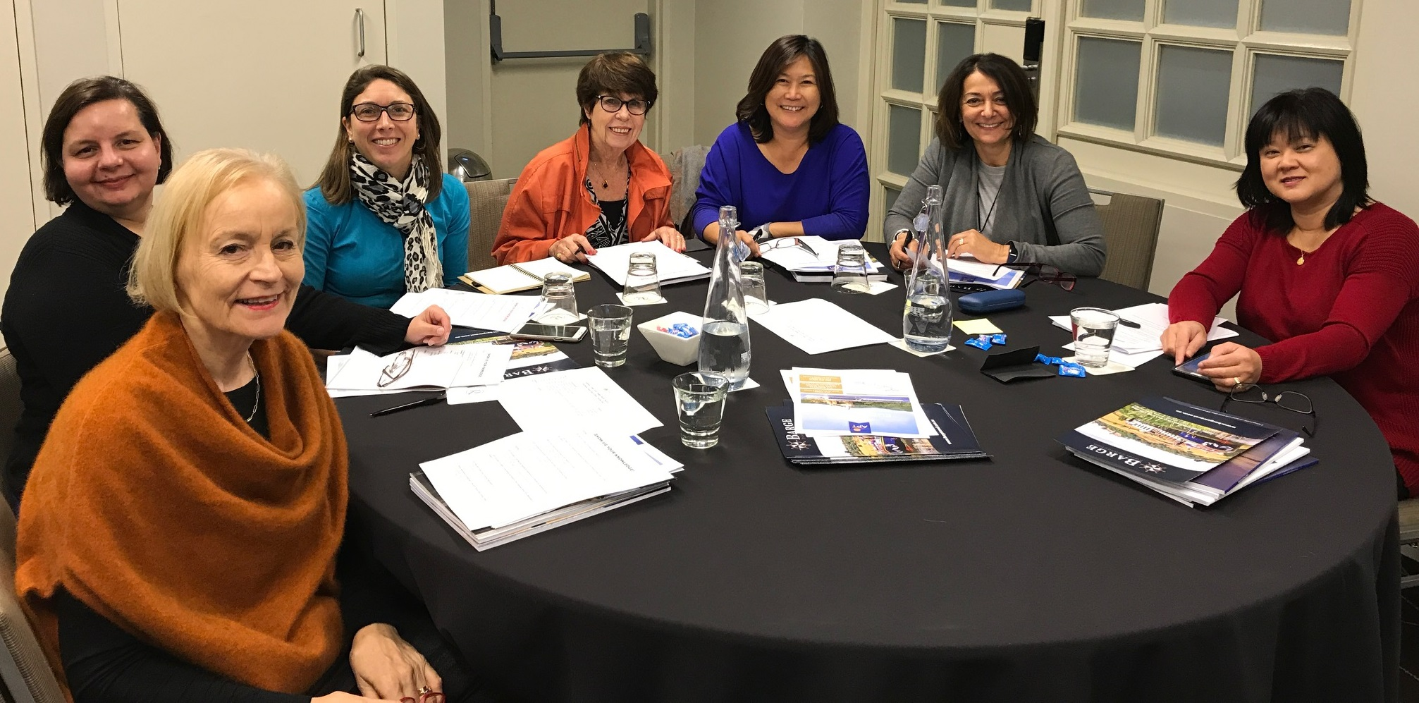 (L-R) Personal travel managers Lyn Tyson, Maria Furnari, Danielle Goncalves, Beverly Burt, Alma Araullo, Sue Kuti and Teresa Reyes