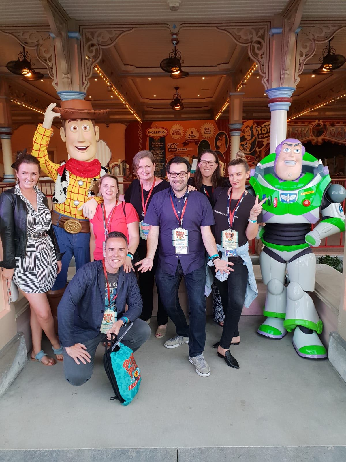 Pictured (left to right) with Woody and Buzz in Pixar Pier: Laura Masters (helloworld Travel), Adam Townson (Travel Associates), Monica Lando (Infinity Holidays), Christie Hopp (Infinity Holidays), Michael Cassis (Disney Destinations), Sarah Gerrand (helloworld Travel Wholesale), Vanessa Richards (Excite Holidays). Absent from Picture: Julie Reid (United Airlines).