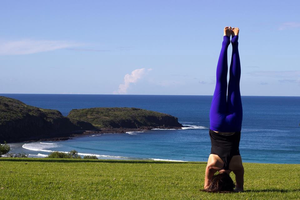 Tanya Smith from TOA Yoga Pilates enjoying Reflections Killalea Reserve from a different perspective