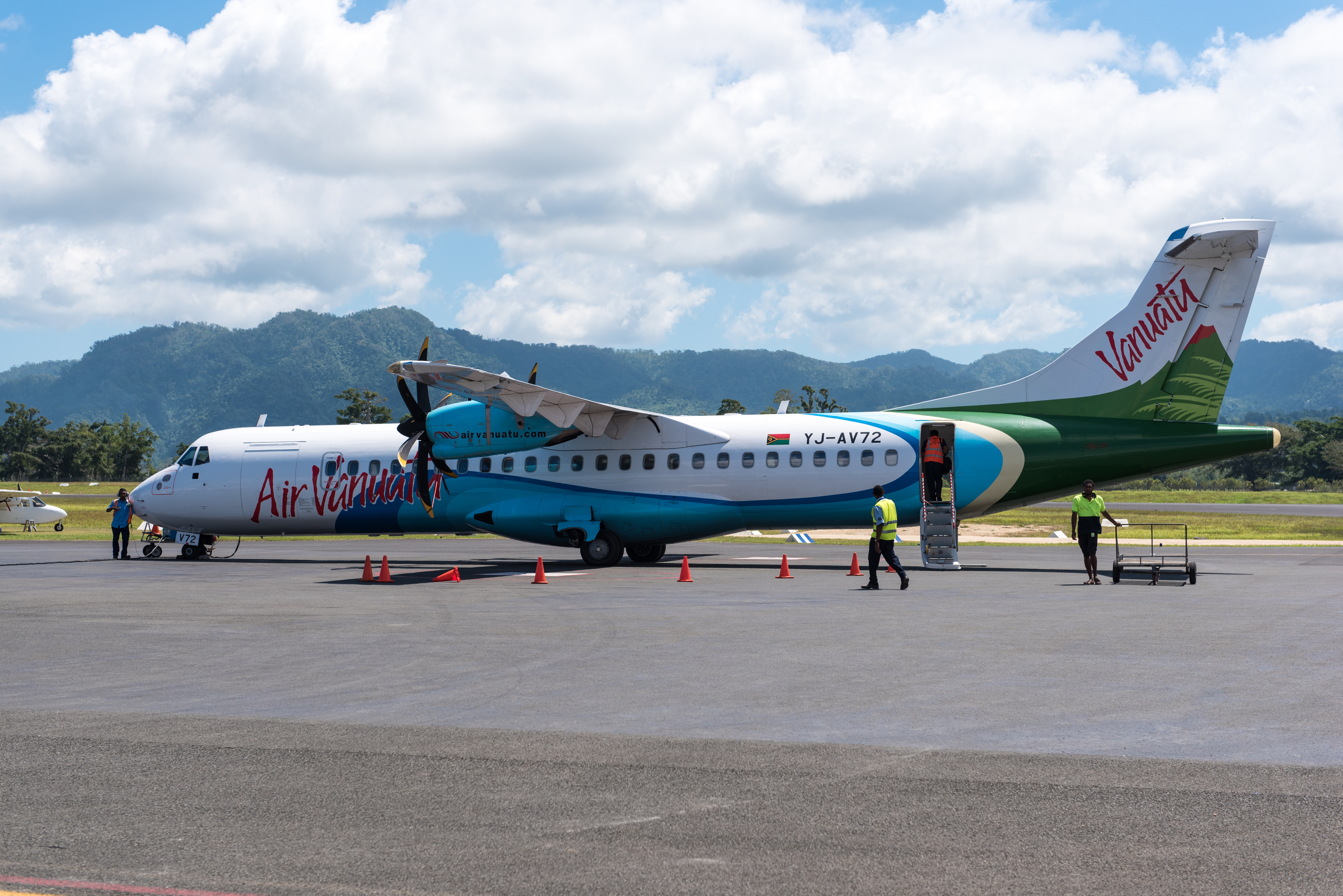 Air Vanuatu ATR 72-500 plane at Portvila airport