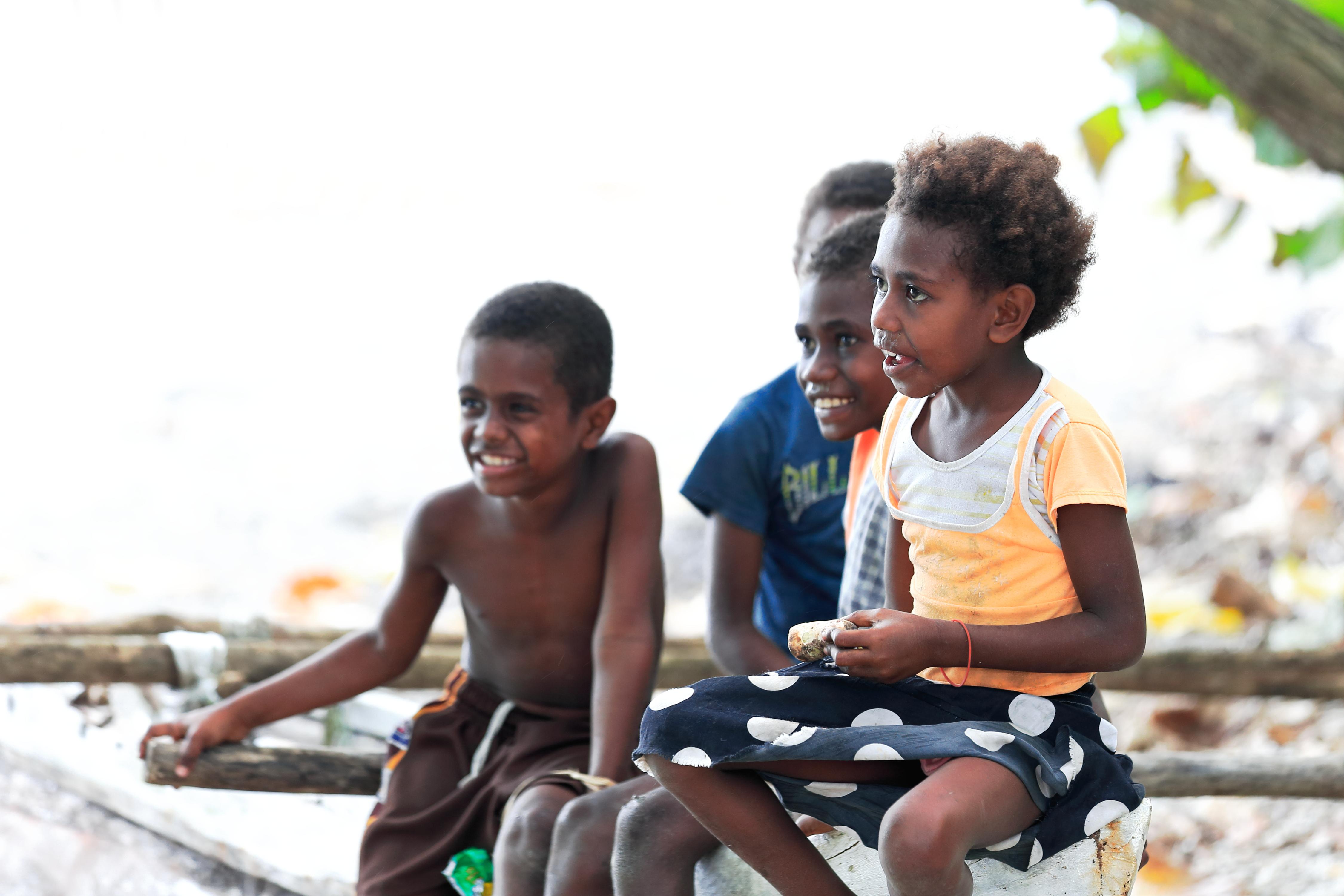 Ni-Vanuatu kids on the beach. Lamen Bay-Epi island-Vanuatu. 5400