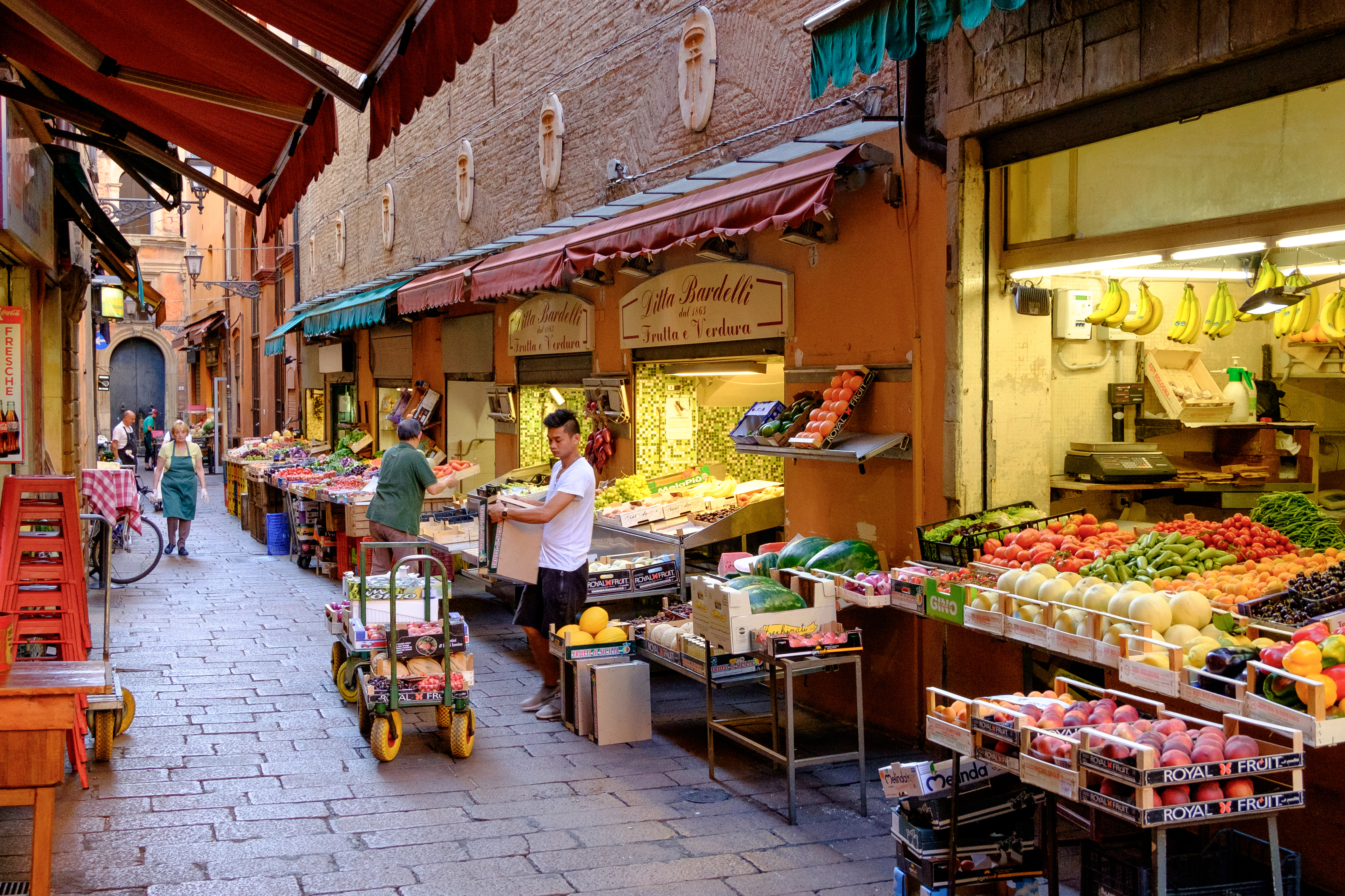 Characteristic food shops in the historic center of Bologna