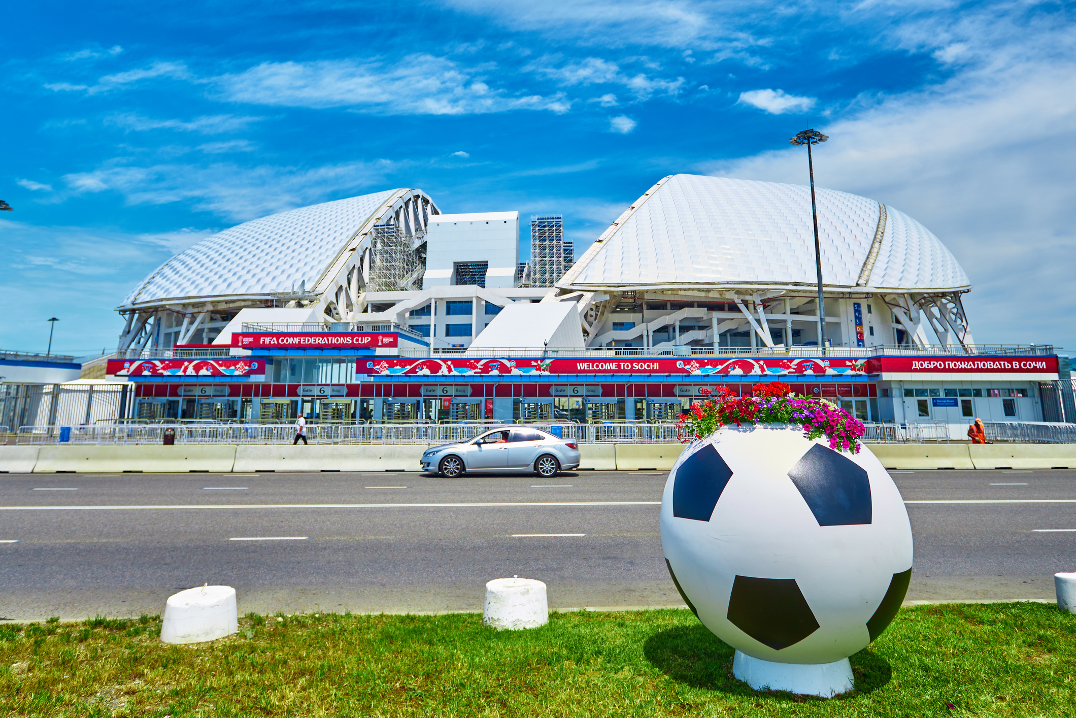 "SOCHI, RUSSIA - JUNE 18, 2017: Stadium ""Fisht"" in the Olympic Park.Football stadium decorated with symbols of the FIFA Confederations Cup"