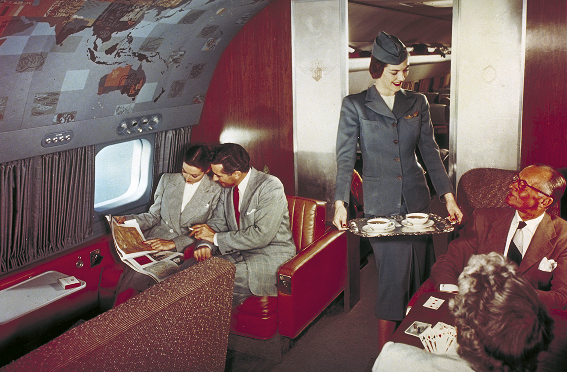 Lounge on board a Lockheed Constellation. Source: AirlineRatings.com Negative Number: LAK-958 Product: Super Constellation Company: Lockheed Aircraft Corporation Circa: 1950 Keywords: aircraft, airliner, Commercial, commercial airline, ground, Hardware, interior, lange, lounge, Model 1049G, occupation, passenger, passengers, passengers cabin, people, PR, promotional photo, Super Conne, Super Connie, Super Constellation, Transport Caption: On 30 April 1961, Eastern used Super Constellations to inaugurate its Air Shuttle service. Progressively replaced by Lockheed Electras Boeing 727-100s and Douglas DC-9-30s, the Super Constellation was retained as back-up aircraft unit withdrawn on 14 February 1968, thus ending its career with major carriers.