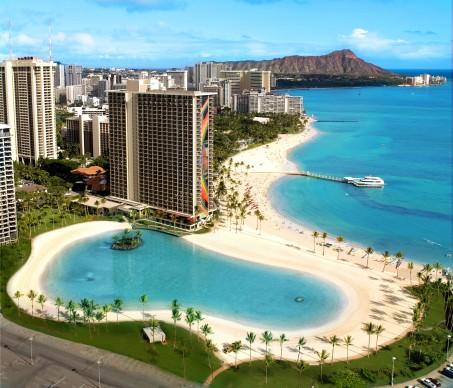 HiltonHawaiianVillageDukeKahanamokuLagoonAerial