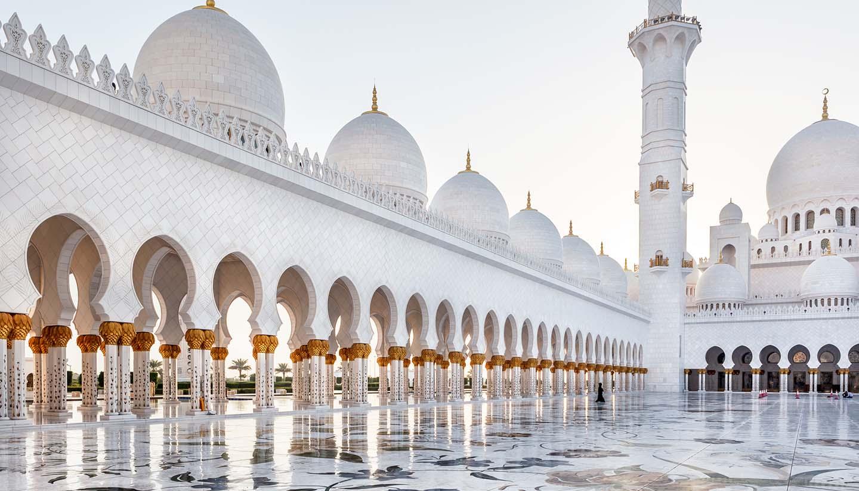 Courtyard of Sheikh Zayed mosque in Abu Dhabi, UAE.