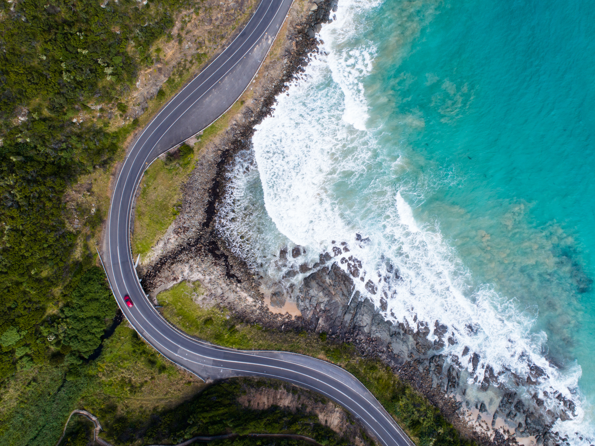 Looking down on the beautiful roads of the Great Ocean Road, Victoria.