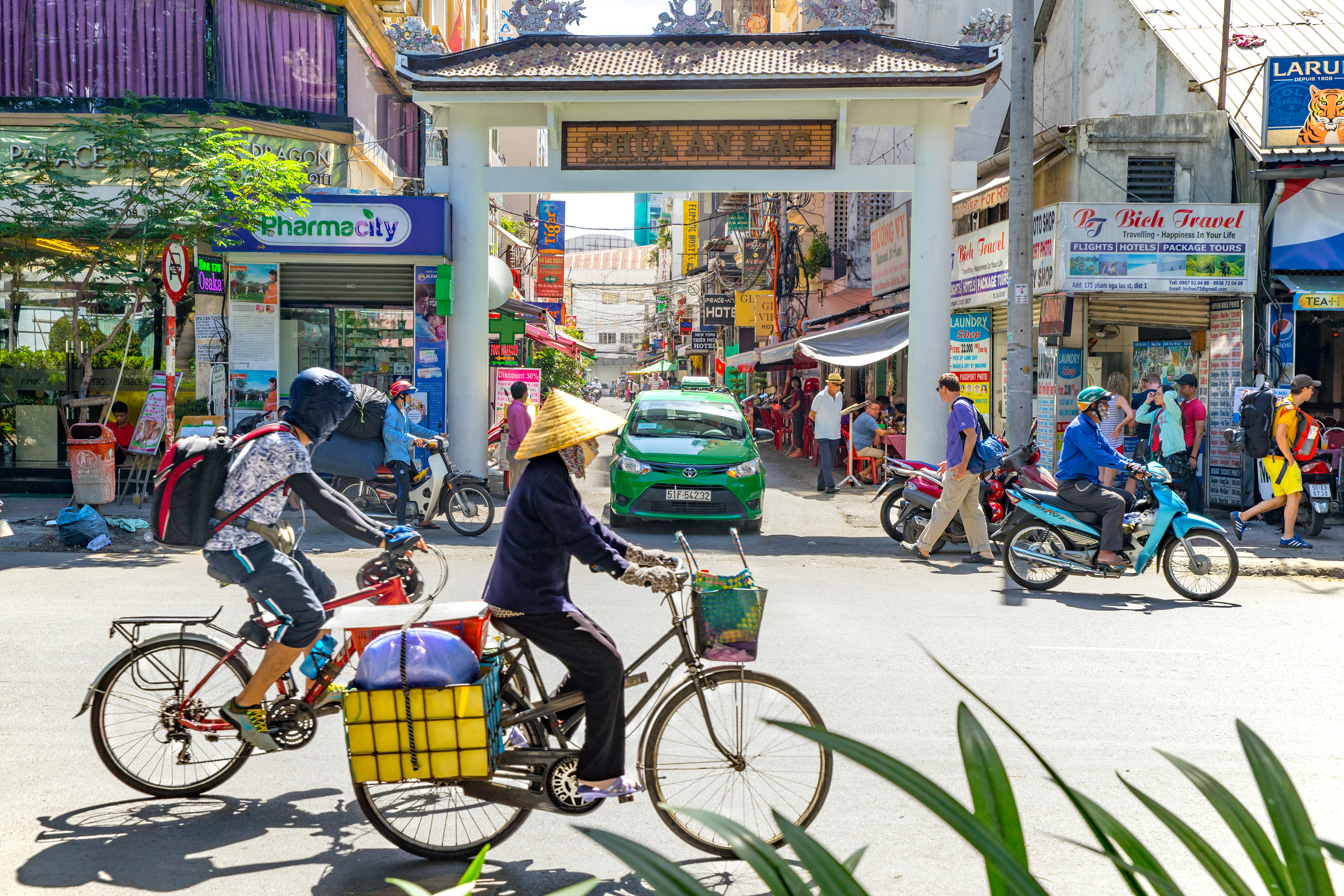 street view of Pham Ngu Lao street, Vietnam