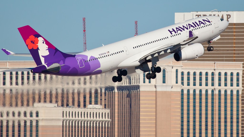 Las Vegas, USA - November 15, 2010: The Airbus A330 Hawaiian Airlines takes off from McCarran International Airport in Las Vegas on November 15, 2010. Hawaiian Airlines is the biggest and longest serving airline in Hawaii and was rated the #1 airline serving Hawaii in 2011 by Travel + Leisure.