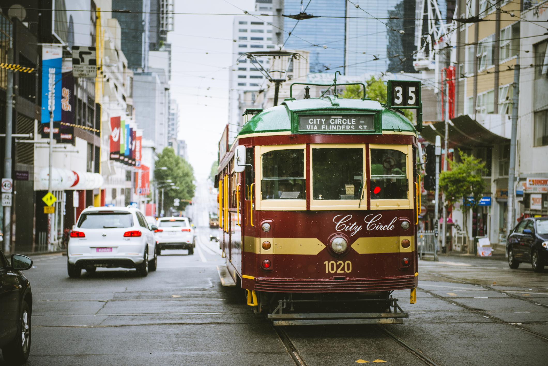 Vintage tram in Melbourne.