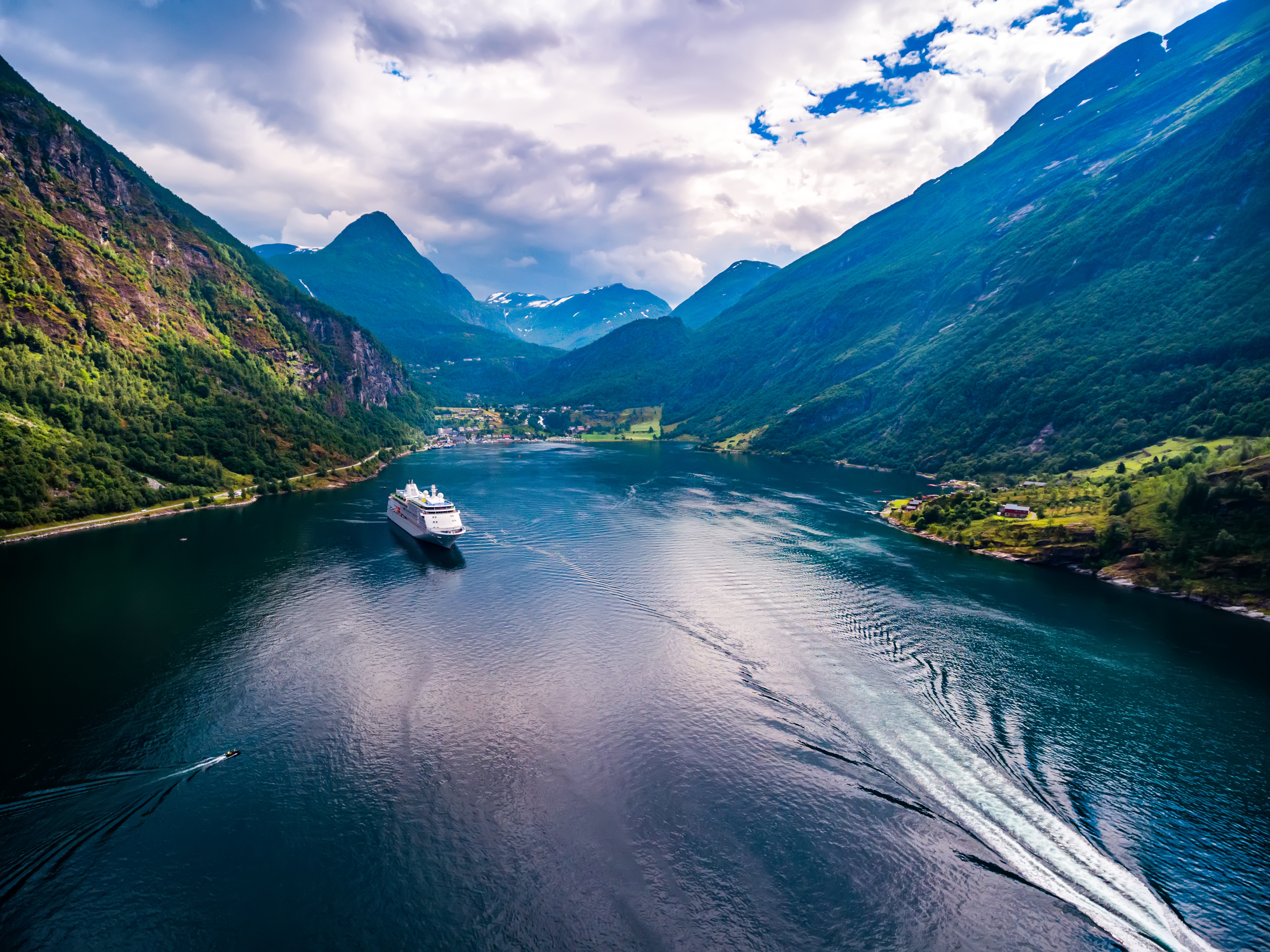 Geiranger fjord, Norway aerial photography.