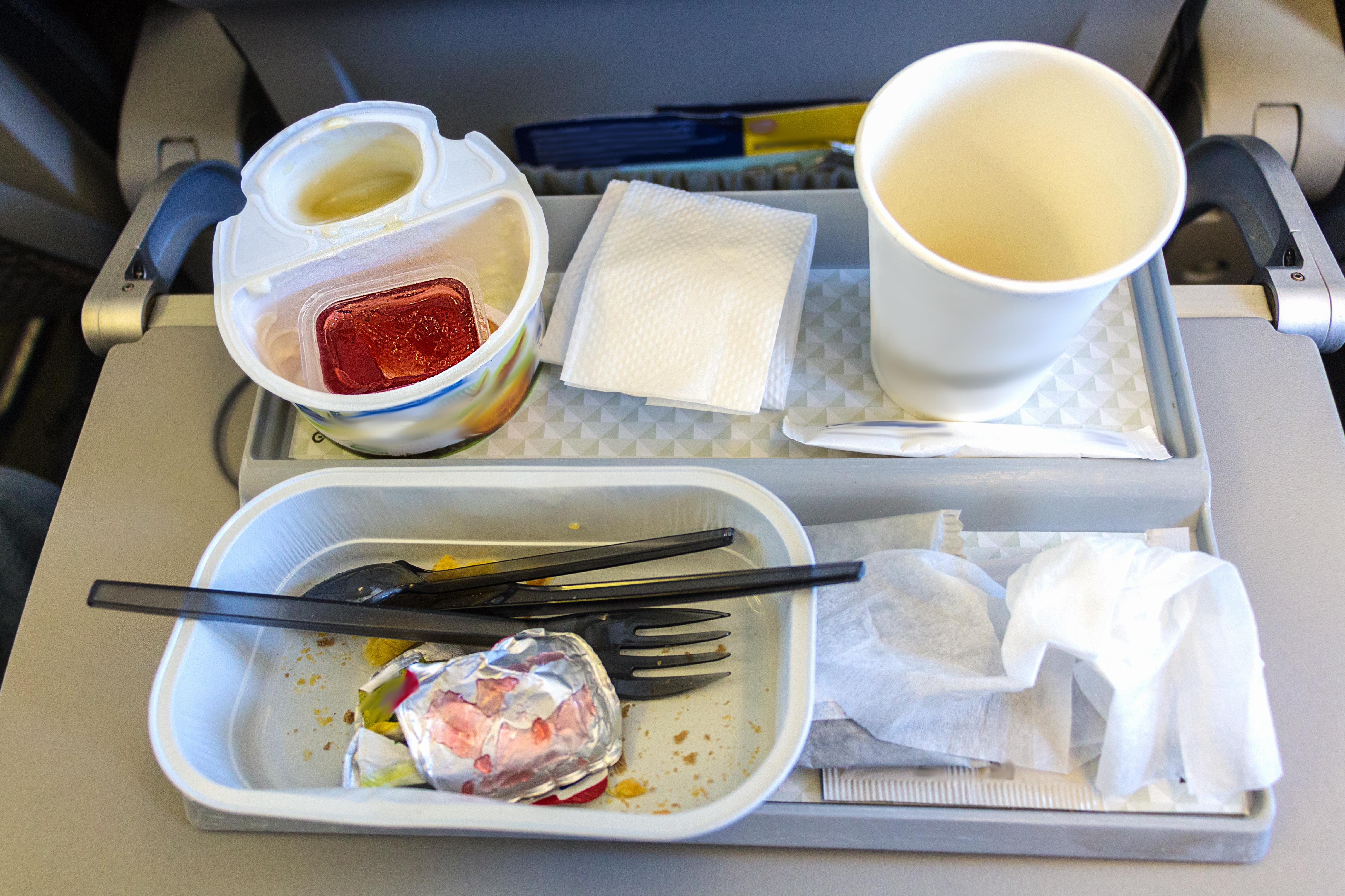 In flight meal breakfast leftovers.