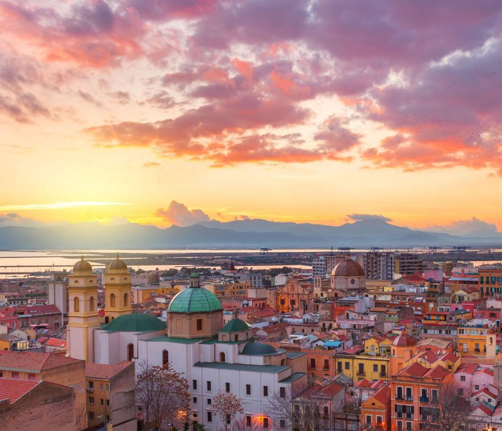 Cagliari skyline during the sunset, evening panorama of Sardinia capital, Italy.