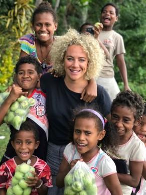 Ash Pollard with the local kids from Sigatoka 9203