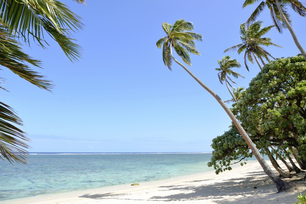 A deserted beach on the Coral coast in Fiji
