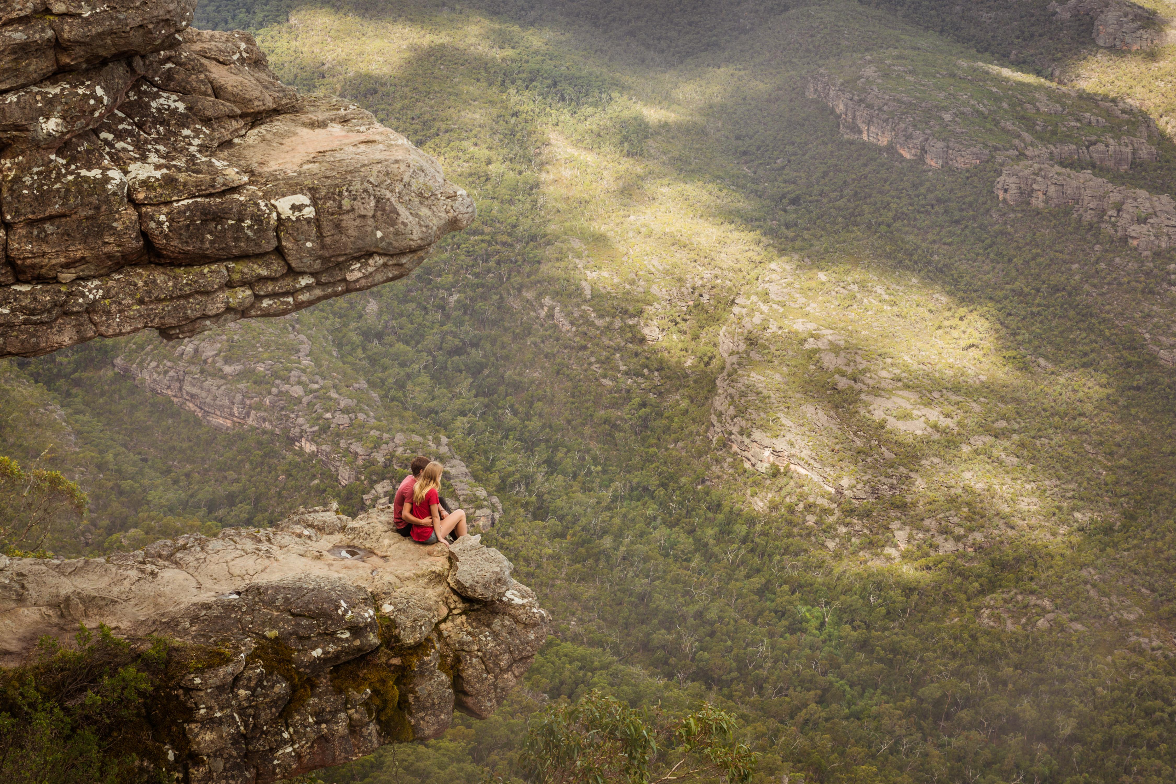 The Balconies scenic lookout famous tourist destination in Grampians National Park.
