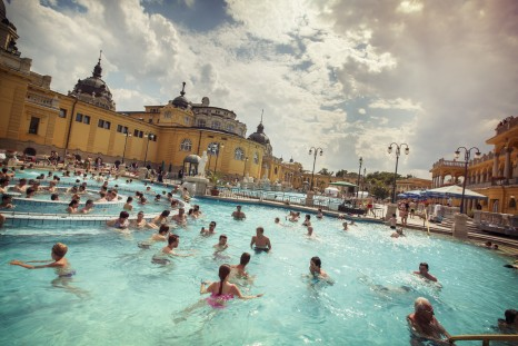 Hungary Budapest Szechenyi Thermal Bath Pool People Swimming