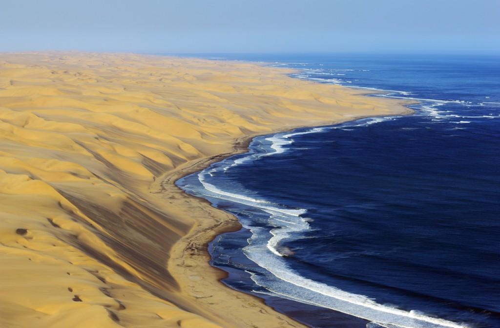 High dunes from Namib Desert and the Atlantic Ocean