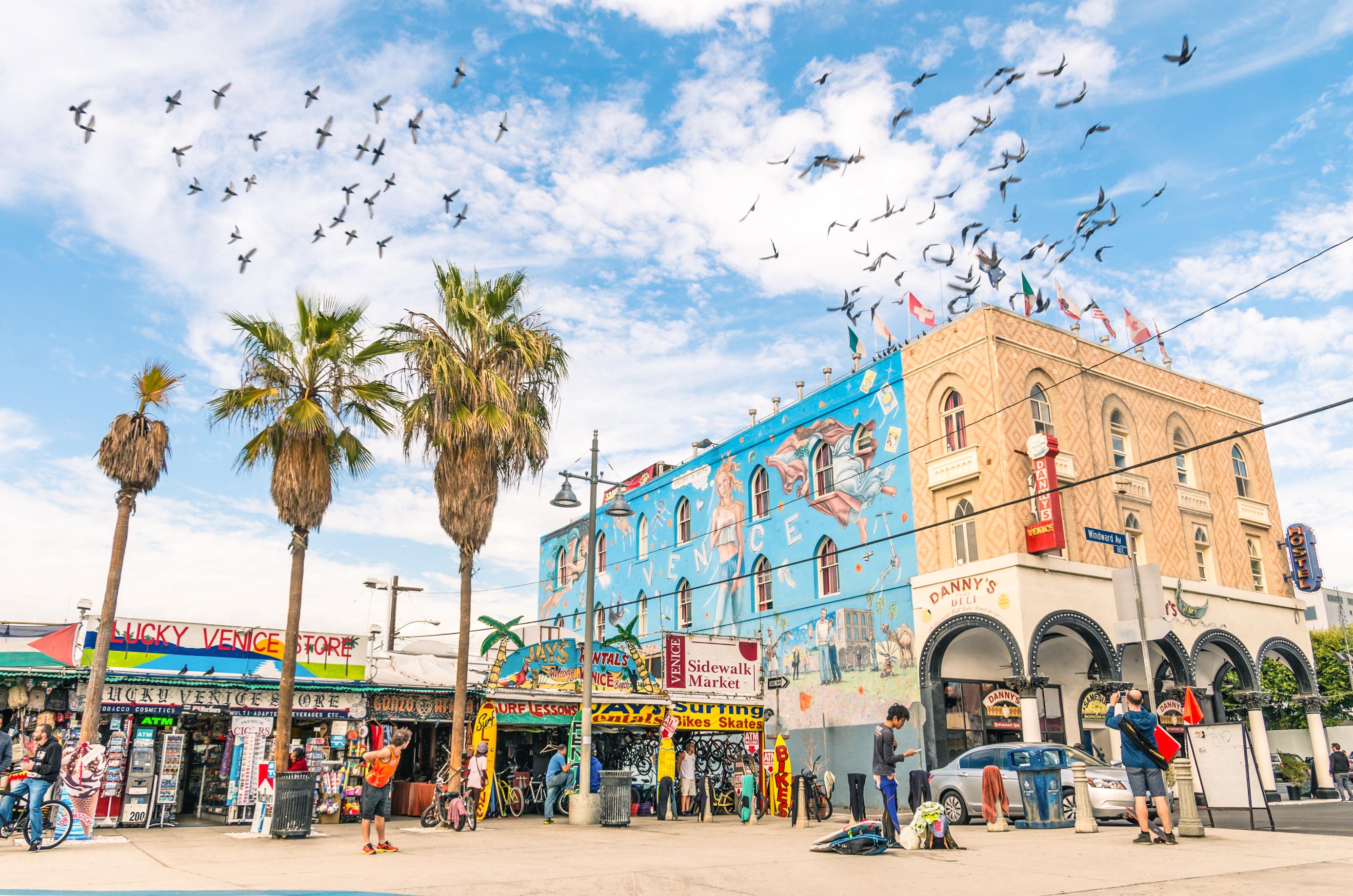 Big mural in Winward Avenue at Venice Beach in California