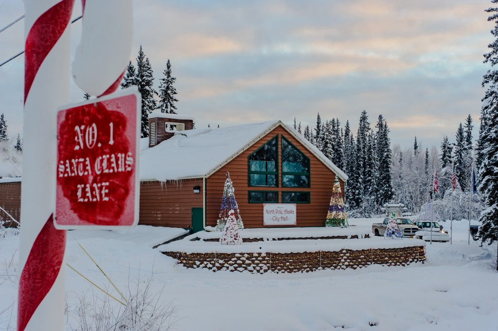North Pole, Alaska,USA- Dec. 7, 2015: North Pole City Hall decorated in Christmas colors, North Pole, Alaska a town located 14 miles south east of Fairbanks maintains a christmas theme year round.