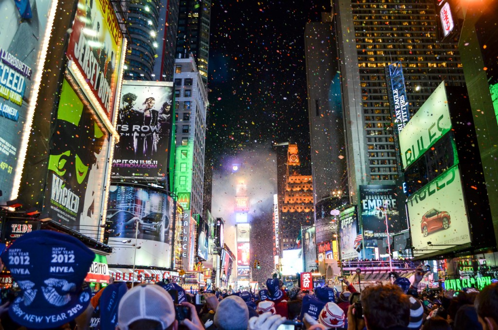 New York, United States - December 31, 2011: Fireworks and confetti display as the ball drops on New Year's eve in Time Square in 2012