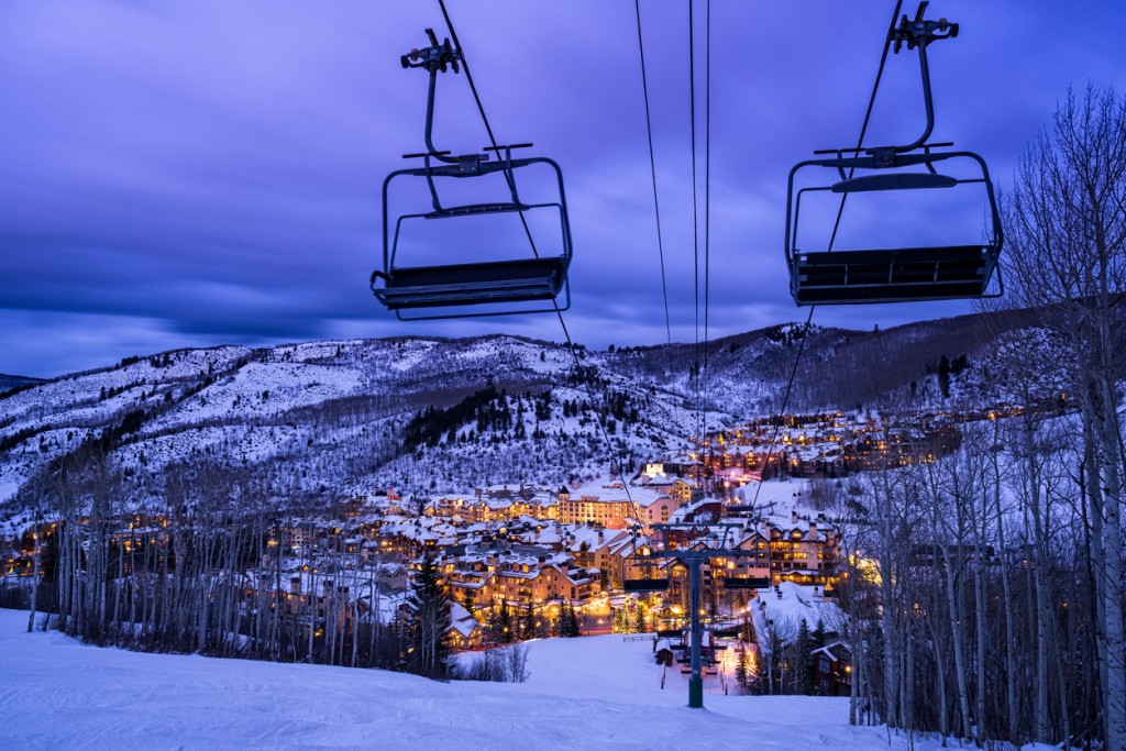 Beaver Creek Colorado Village at Dusk - View from above looking into Beaver Creek Village with ski slopes.