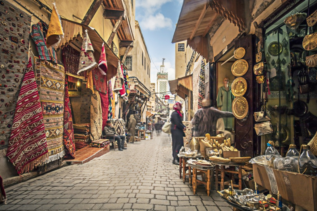 Stores in the medina streets of Fez, Morocco.