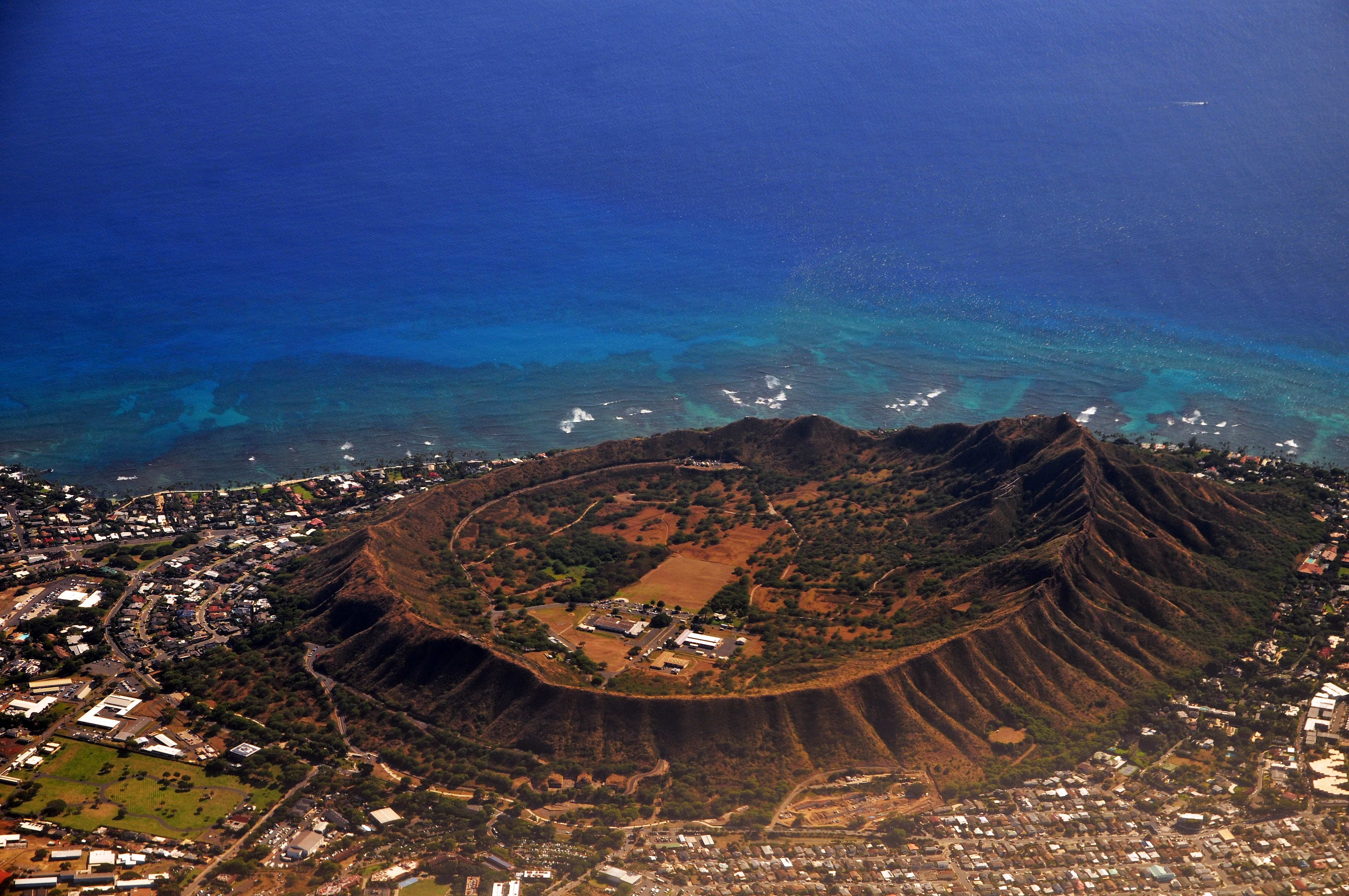 Diamond Head, An Aerial view of extinct volcanic crater in Hawaii