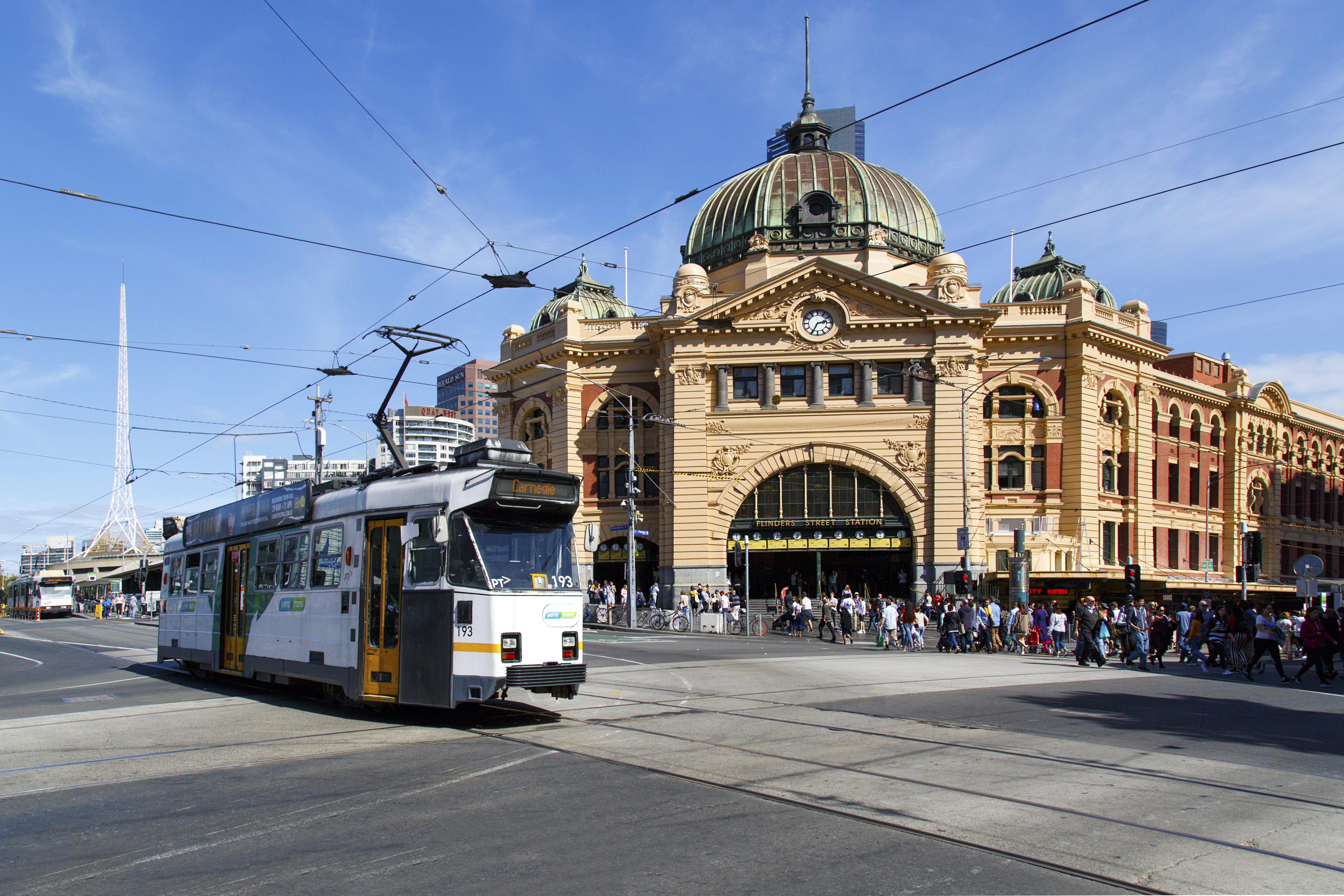 Tram at Flinders Street Station.