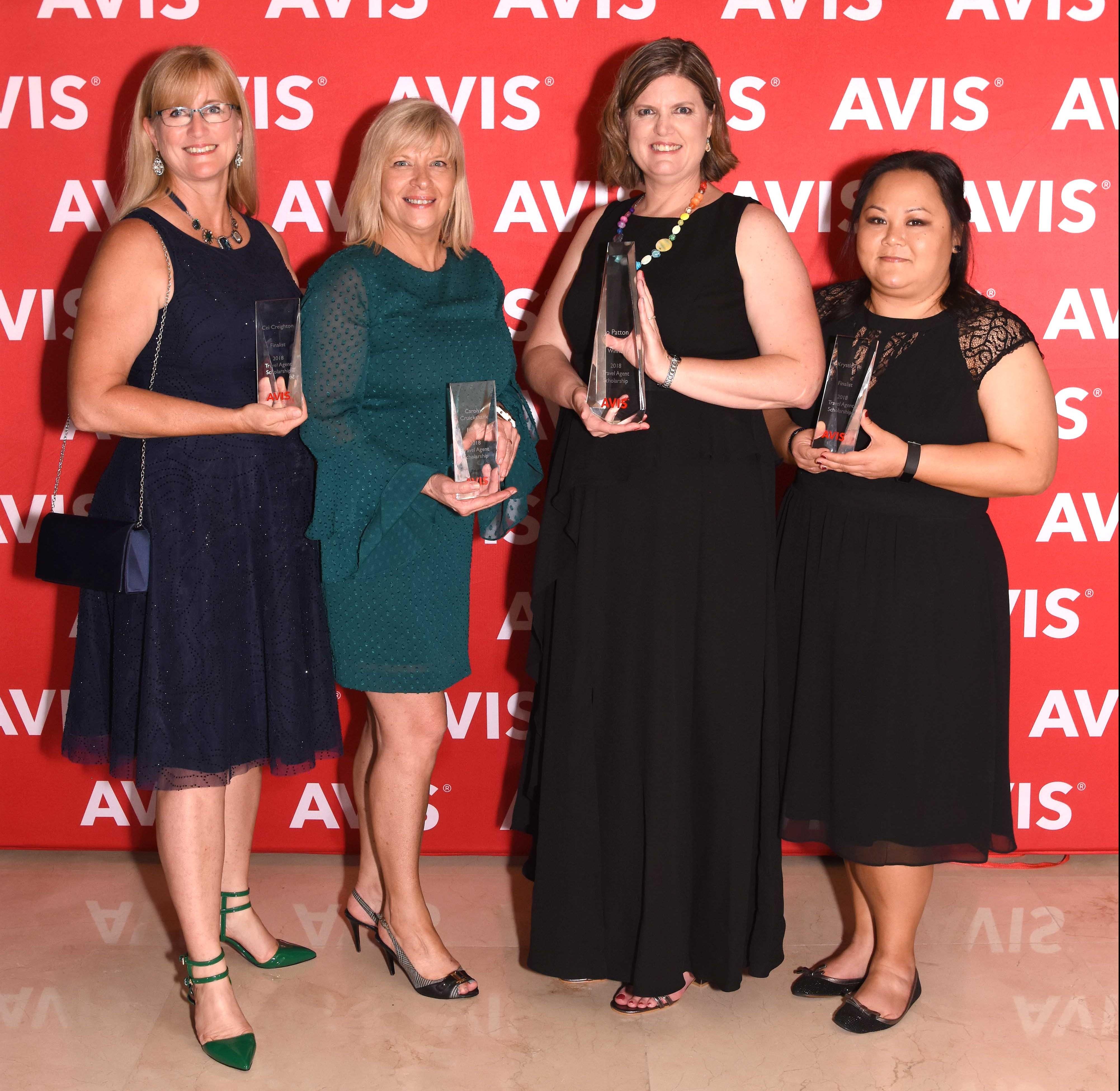 Finalists: Cei Creighton of MTA, Carolyn Cruickshank of Flight Centre, Krystle Tse of Traveledge and Winner Jo Patton of Travel Managers