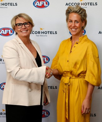 MELBOURNE, AUSTRALIA - NOVEMBER 09: Renae Trimble - Accor Hotels Vice President Sales, Digital & Loyalty, Australia (left) and Kylie Rogers - AFL General Manager Commercial (right) pose for a photograph during the AFL and AccorHotels Special Announcement at Pullman on the Park on November 9, 2018 in Melbourne, Australia. (Photo by Michael Willson/AFL Media)
