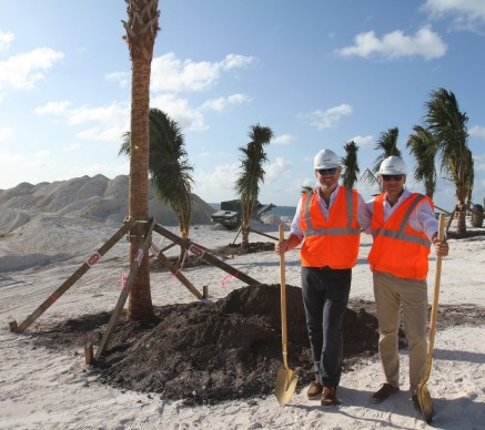 Pierfrancesco Vago and Gianluca Suprani planting the first trees on Ocean Cay