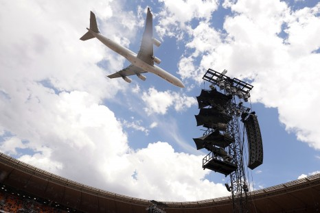 JOHANNESBURG, SOUTH AFRICA - DECEMBER 02: The Global Citizen plane does a flyover over FNB Stadium during the Global Citizen Festival: Mandela 100 at FNB Stadium on December 2, 2018 in Johannesburg, South Africa. (Photo by Jemal Countess/Getty Images for Global Citizen Festival: Mandela 100)