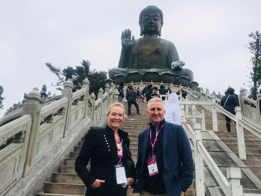 Carlah Walton (WendyWu Tours) & Michael Gazal (TravelManagers) at The Big Buddah