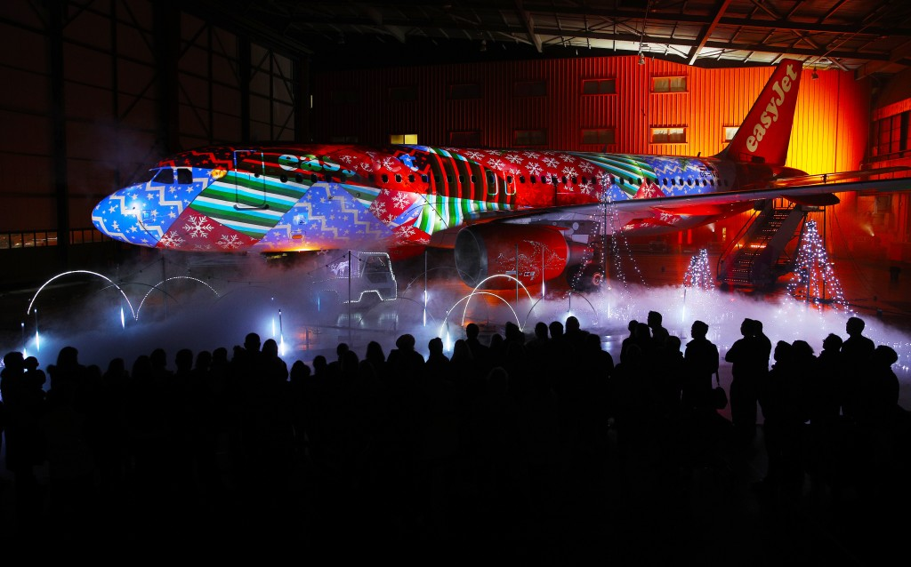 World's first Christmas lightshow on 120ft easyJet aircraft at Luton Airport, UK, 17th December 2018