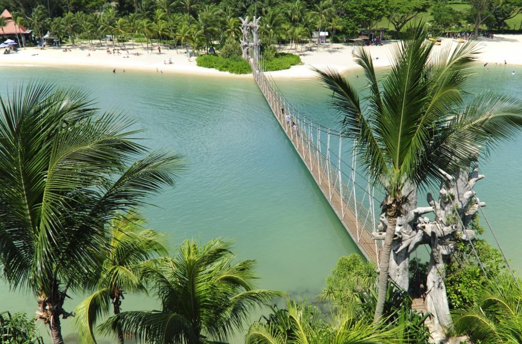 An aerial view of Palawan Beach, Sentosa, Singapore