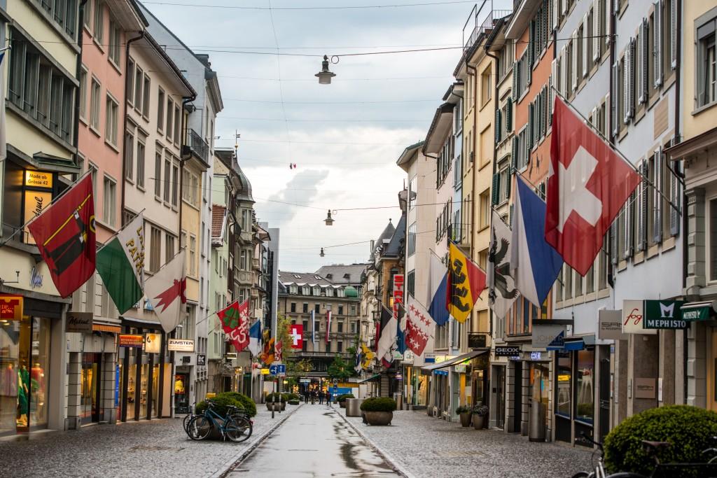 Zurich street under rain