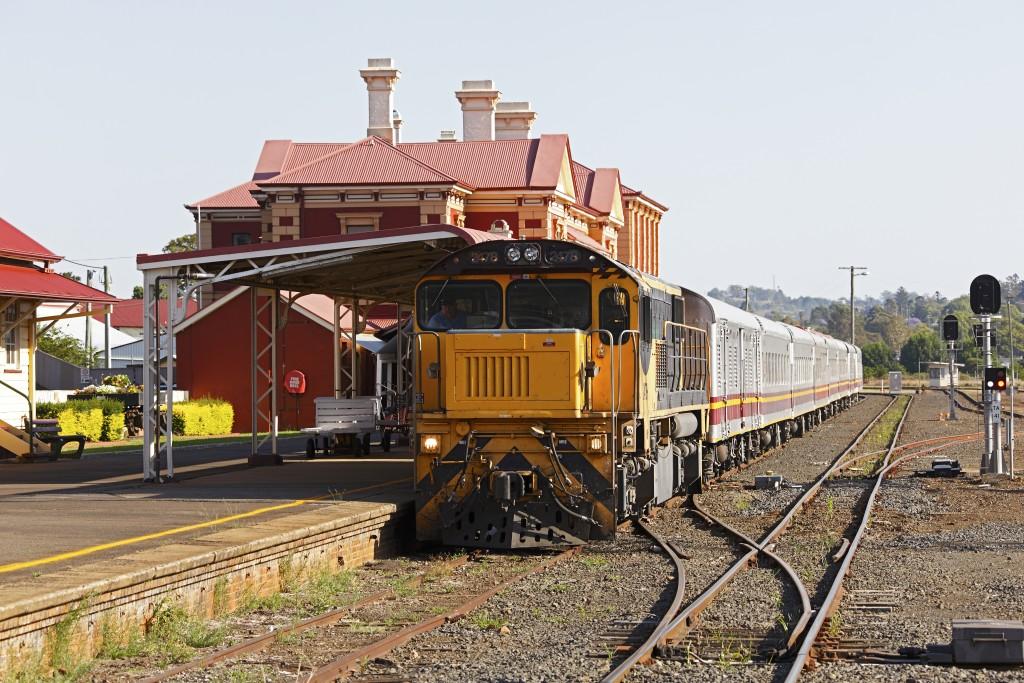Queensland Rail Travel Westlander train at Toowoomba