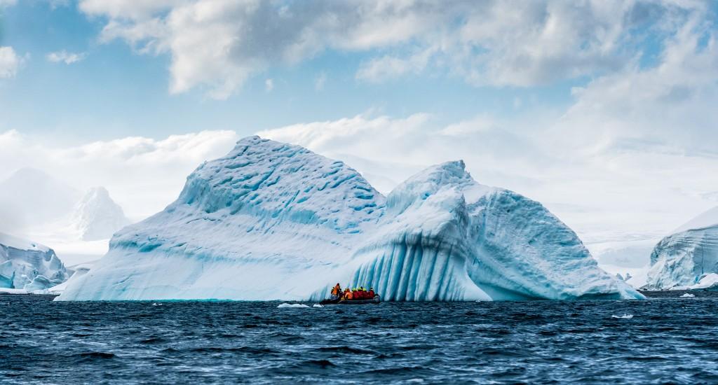 Cruising among icebergs in Wilhemina Bay Antarctica