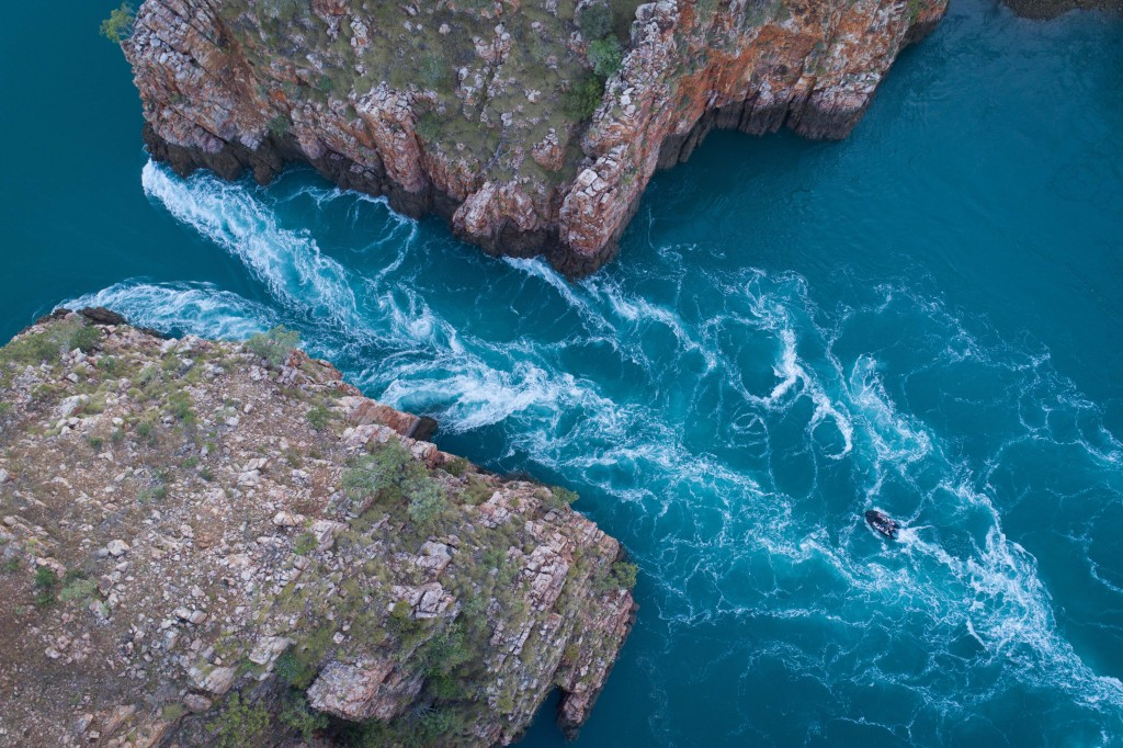 Aerial of the Horizontal Waterfall, Talbot Bay and McLarty Range - Kimberley Region